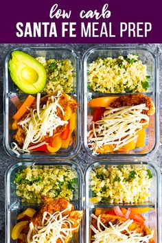 Santa Fe chicken low carb meal prep has cilantro lime cauliflower rice and bell peppers topped with seasoned chicken breast and cheese! 8 g net carbs and 25 g protein to keep you full. via Sweet Peas & Saffron Sunday Meal Prep, Lunch Meal Prep, Meal Prep Bowls, Easy Meal Prep, Healthy Meal Prep, Easy Meals, Healthy Eating, Keto Meal, Healthy Recipes