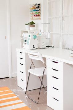 Craft Corner Dreams - A Pretty Fix - Craft Corner Dreams – light and bright - Small Sewing Space, Sewing Spaces, Sewing Rooms, Small Spaces, Small Storage Cabinet, Storage Cabinets, Vanity Makeup Rooms, Sewing Station, Craft Station