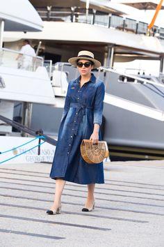 Cruise Chic Style with Denim Dress, Cult Gaia Bag & Chanel Slingbacks by Stella Asteria - Fashion & Lifestyle Blogger