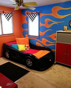 Vroom Vroom, it's a hot wheels themed room! Credit to DezignsByD