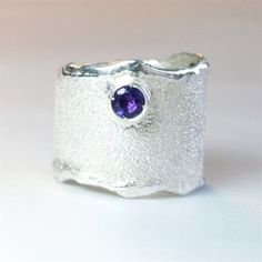 Amethyst Wide Silver ring, Amethyst Solitaire ring foster texture  #SilverJewelry