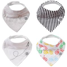 The Good Baby Bandana Drool Bibs – 4 Pack Baby Bibs for Boys, Girls, Unisex - 'Bikes Set' * To view further for this item, visit the image link.