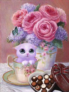 dreamies.de - Deine kostenlose Bildercommunity Good Morning Sister, Good Morning Gif, Good Morning Greetings, Romantic Drawing, Happy Birthday Meme, Yellow Art, Floral Letters, My Tea, Vintage Flowers