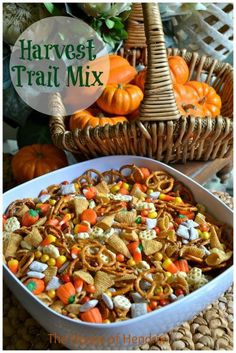 Harvest Trail Mix. My take: Bugles, pretzels, cinnamon chex cereal, candy corn, candy pumpkin, seasonal m&ms, peanuts/cashews