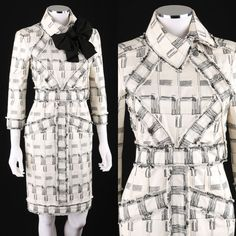 CHANEL IVORY BLACK EMBROIDERED LONG SLEEVE SHEATH DRESS RAW EDGE DETAIL S/S 2009 #CHANEL #Sheath
