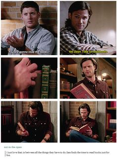 I just love that, in between all the things they have to do, Sam finds the time to read books just for fun. I was so mad he got interrupted.