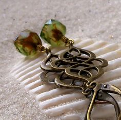 Antique Brass and Green Earrings - Forest in Spring Series