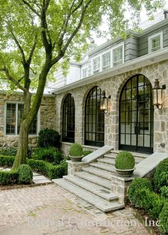 Love the stairs and the arched windows. Beautiful houses: the top architecture pins of February 2014 - triple arched windows from Revival Construction {Things That Inspire} Future House, Outdoor Spaces, Outdoor Living, Arched Windows, Black Windows, Steel Windows, Steel Doors, Arched Doors, Entry Doors