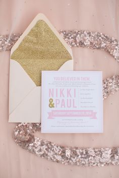 Pink and Gold Glitter Invitation Suite | Amy & Jordan Photography https://www.theknot.com/marketplace/amy-and-jordan-photography-scottsdale-az-564599 | Lillian Lottie Couture https://www.theknot.com/marketplace/amy-and-jordan-photography-scottsdale-az-564599
