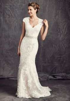 Kenneth Winston: Ella Rosa Collection gown with sheath silhouette, V-neckline, dropped waist, and embellished lace I Style: BE277 I https://www.theknot.com/fashion/be277-kenneth-winston-ella-rosa-collection-wedding-dress?utm_source=pinterest.com&utm_medium=social&utm_content=june2016&utm_campaign=beauty-fashion&utm_simplereach=?sr_share=pinterest