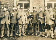 "Detail - German Soldiers Drinking ""Dunkles Bier"" in Front of Military Canteen, January 24, 1918. Stamp on obvers appears to be for the 4th Company/1st Bn. of Schleswig-Holsteinisches Infanterie-Regiment Nr.163 which was part of the Reserve Infantry Division 17."
