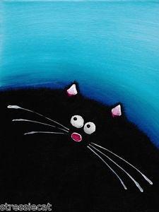 ACEO Print Acrylic Painting Folk Art Whimsical Illustration Fat Black Cat Blue 5 | eBay