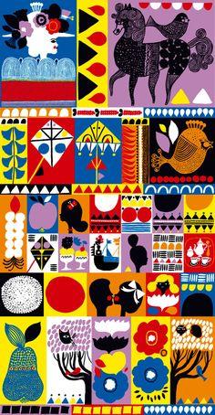 Aino-Maija Metsola: Marimekko illustration for Helsinki store Motifs Textiles, Textile Patterns, Print Patterns, Floral Patterns, Graphic Illustration, Graphic Art, Pattern Illustration, Posca Art, Stoff Design