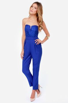 Opt for a fiery night in with the Come On Overlay Strapless Royal Blue Jumpsuit! Intricate blue lace adorns a strapless sweetheart bodice, with cropped pant below. Strapless Jumpsuit, Lace Jumpsuit, Lace Romper, Royal Blue And Gold, Blue Jumpsuits, Romper Outfit, Celebrity Outfits, Blue Lace, Cool Outfits