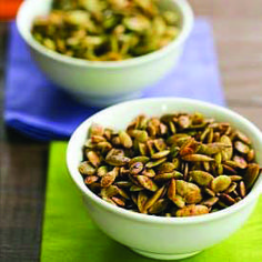 Roasted Pumpkin Seeds -- it's not fall without this! I usually do just a little olive oil and salt, but I might try some of these yummm Three different variations on roasted pumpkin seeds - Ginger Soy, Brown Sugar Spice, and Maple Chipotle. Thanksgiving Recipes, Fall Recipes, Dog Food Recipes, Cooking Recipes, Snack Recipes, Healthy Snacks, Healthy Eating, Healthy Recipes, Protein Snacks