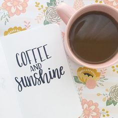 Coffee and sunshine hand lettering quote - brush lettering practice - lettering and calligraphy inspiration - quotes