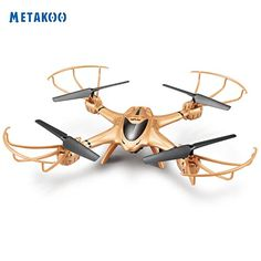 Metakoo RC Quadcopter with HD Camera Headless Mode One-Key Return 2.4GHz Remote & APP Controlled Done with 6 Gyro Left & Right Hand Mode - Gold *** Be sure to check out this awesome product.