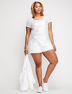 Lane Bryant silver striped T shirt