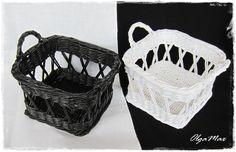 """Купить Плетеные корзины """"Чёрное-белое"""" (набор 2 шт.) - белый, черный"""