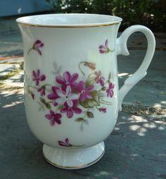Vintage 1970 Sweet Violets Flower Pedestal Mug by Sheffield Fine China. Made in Japan. At AngelGrace on Etsy.