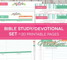 Daily Devotional Bible Study printable set with guided inductive Bible study questions, 20 printable letter-sized PDFs included.