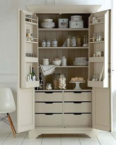 Would you love a larder for your kitchen? Here's 8 of our favourite larder designs, plenty to inspire you for your new kitchen. Diy Kitchen, Kitchen Decor, Kitchen Cabinets, Kitchen Larder Cupboard, Kitchen Ideas, Larder Unit, Cupboard Shelves, Wood Shelves, Kitchen Flooring