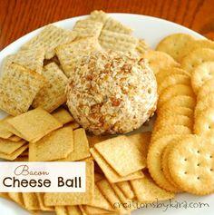 Bacon Cheeseball Recipe- a perfect snack for game day! #recipe #bacon -from creationsbykara.com