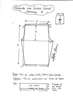 Bermuda lycra M Sewing Pants, Sewing Clothes, Diy Clothes, Dress Sewing Patterns, Sewing Patterns Free, Clothing Patterns, Sewing Lingerie, Kids Patterns, Pants Pattern