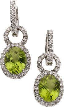 Earrings, Peridot, Diamond, White Gold Convertible Earrings