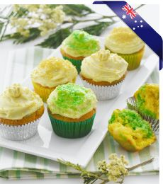 How patriotic can you get? Green and gold cupcakes with luscious white chocolate frosting. Deliciously easy chocolate cupcake recipes >> Cupcake Recipes --> www.cadburykitchen.com.au/recipes/view/green-and-gold-marble-cupcakes/2