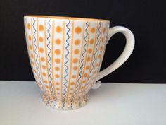 Starbucks 2003 Barista White Orange Polka Dot 18 oz Coffee Tea Mug Cup