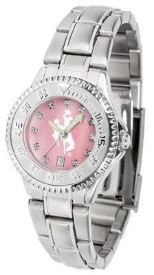 Wyoming Cowboys Ladies Watch Mother-of-Pearl Face by SunTime. $94.95. Mother-of-Pearl and Crystal Face. Stainless Steel Band. Links Make Watch Adjustable. Women. Officially Licensed Wyoming Cowboys Ladies Stainless Stell Watch. Wyoming Cowboys Ladies Watch Mother-of-Pearl Face This Cowboys watch has a functional rotating bezel that is color-coordinated to compliment your favorite team logo. The Competitor Steel utilizes an attractive and secure stainless steel band.The fac...