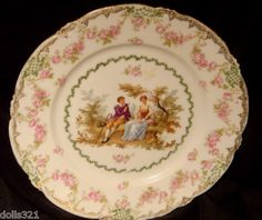 Antique Porcelain Decorative PLATE, COURTING COUPLE ROSES SCENE- Estate