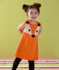 Child's Fox Tunic or Dress Free Knitting Pattern   Sizes for 2 to 8 years   Free Fox themed Knitting Patterns at http://intheloopknitting.com/free-fox-knitting-patterns/
