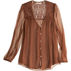 LOVE SAM Lace Yoke Top ($75) ❤ liked on Polyvore featuring tops, blouses, shirts, blusa, women, shirts & blouses, brown lace top, love sam tops, yoke top and button front tops
