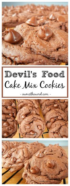 These Devil's Food Cake Mix Cookies are UBER easy. 4 ingredients, 20 minutes and it starts with a cake mix. Chocolate Cookie Recipes, Chocolate Muffins, Cookie Desserts, Chocolate Desserts, Easy Desserts, Delicious Desserts, Cookie Cups, Sweet Desserts, Yummy Food