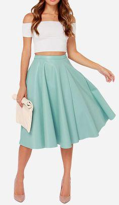 JOA Sock Hop Light Blue Vegan Leather Midi Skirt