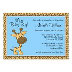 Cute Baby Boy Shower Invitations | Cute Blue Giraffe Boy Baby Shower Personalized Invitation