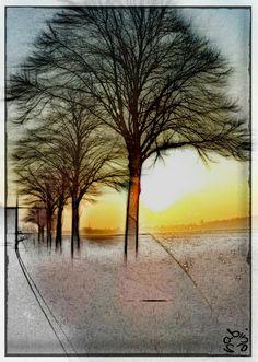 foggysunrisepencilwinteredit  cu all a little later  #bokeh #colorful #nature #pencilart