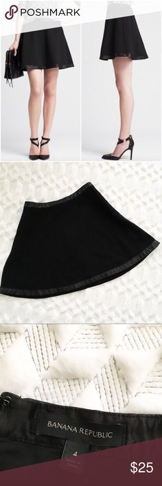 Banana Republic Black Circle Skirt w/ Leather Trim This is a gently used Banana Republic Black Circle Skirt w/ Leather Trim. In excellent condition. Worn a few times. Faux leather trim. Banana Republic Skirts Circle & Skater