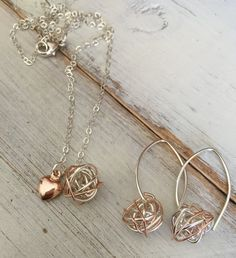 Silver Rose Gold Knot Earring Necklace Set Heart by SFDesigns2015