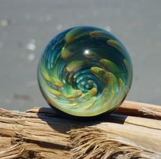 MIB Fumed Implosion Vortex Marble with Evil Eye by CopiousGlass