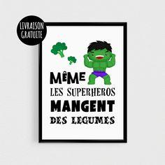 """Poster super héro vert pour enfant - """"Même les superhéros mangent des légumes"""" - Affiche citation"""