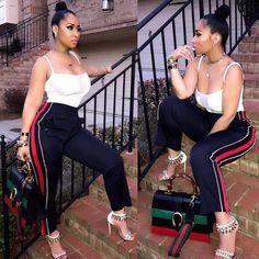#tammyrivera #streetchic #bunlife #baddie #gucci #purse #bag #dior #accessories #choker #earrings #joggers #hm #top #laperla #louboutin #shoes #heels #slay #fly #hot #style #fashion  #Repost @stylishflychick #MelaninSlay #Rhoa #Atl #LHhAtl