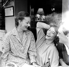 Jeanne Moreau, Anouk Aimée and Maurice Ronet at the Cannes Film Festival, 1958