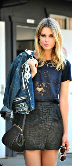 leather mini skirt + denim jacket + tiger print top |  perfect #streetstylelook