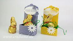 Osternest für Mini-Goldhase von Lindt, oder für viele andere Anlässe :-) , Gewellter Anhänger, Verpackung, crehand, Stampin Up 2016, Videoanleitung