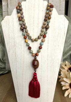 dd0aae9efe49 108 Mala Bead Necklace w  African Opal and Tibetan Dzi Beads