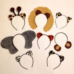 Jungle safari zoo animals theme ears headband por Partyears en Etsy