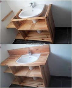 diy bathroom Incredible DIY Projects with Reused Wood Pallets Diy Bathroom Vanity, Simple Bathroom, Pallet Bathroom, Bling Bathroom, Bathroom Canvas, Stone Bathroom, Diy Vanity, Vanity Ideas, Bathroom Shelves